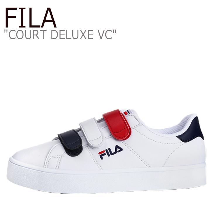 FILA COURT DELUXE VC/White/Navy/Red【フィラ】【コートデラックス】【ベルクロ】【F1XKZ0175】 シューズ