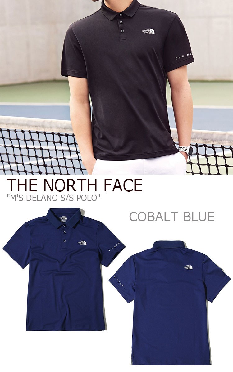 701fb6cb4 North Face polo shirt THE NORTH FACE men M'S DELANO S/S POLO Delano short  sleeve polo BLUE GRAM BLACK blue gray black NT7PK04J/K/Lware-free article