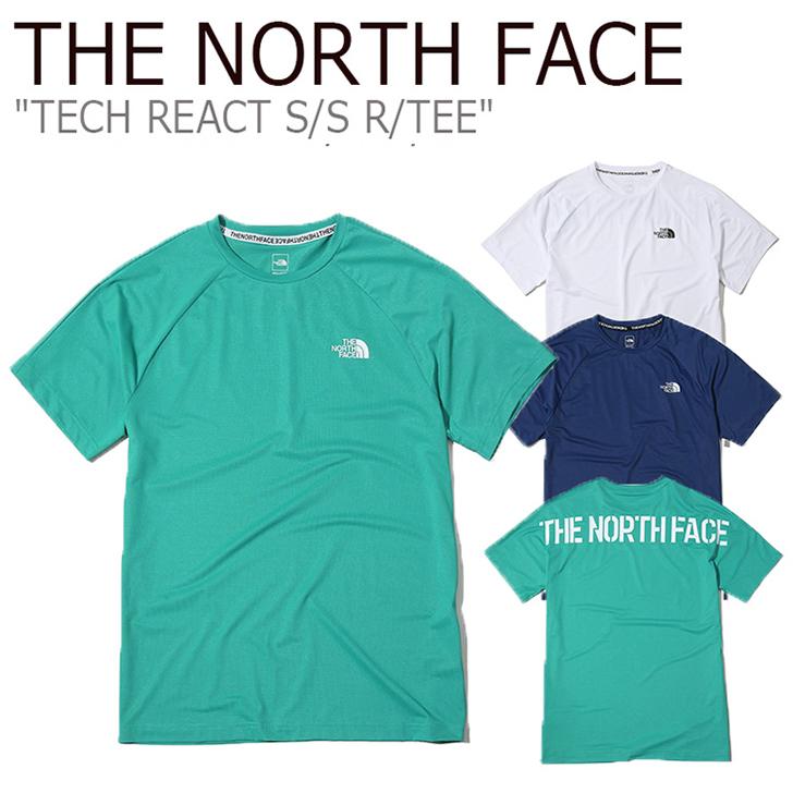 ノースフェイス Tシャツ THE NORTH FACE メンズ TECH REACT S/S R/TEE テック リアクト ショートスリーブ ラウンドT 半袖 WHITE EMERALD NAVY ホワイト エメラルド ネイビー NT7UK06A/C/D ウェア 【中古】未使用品