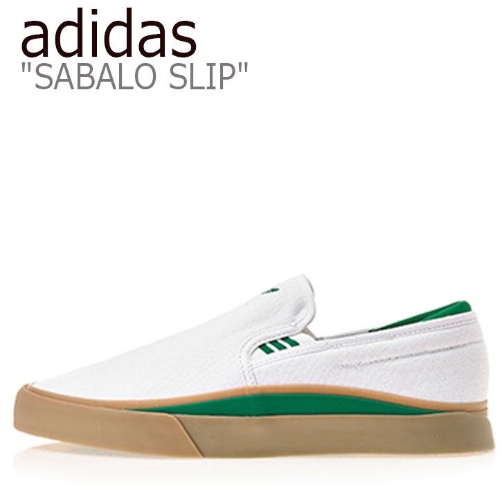 アディダス スニーカー adidas メンズ レディース SABALO SLIP サバロ スリップ WHITE ホワイト GREEN グリーン EE6132 シューズ 【中古】未使用品