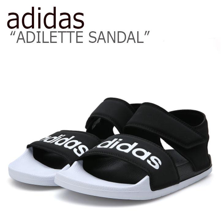 アディダス サンダル adidas メンズ レディース ADILETTE SANDAL アディレッタ サンダル BLACK WHITE ブラック ホワイト F35416 シューズ 【中古】未使用品