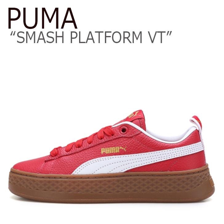 プーマ スニーカー PUMA レディース SMASH PLATFORM VT スマッシュ プラットフォーム VT RED レッド 36692602 シューズ 【中古】未使用品