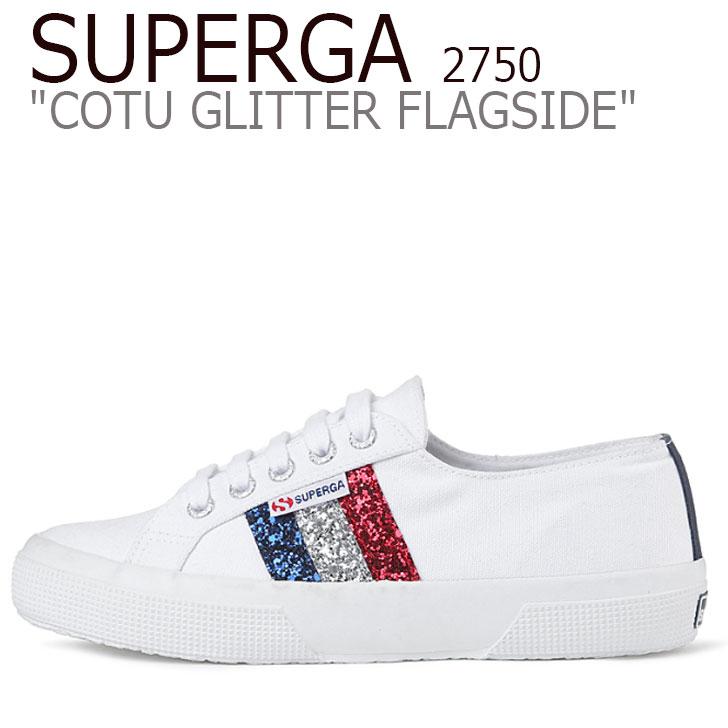 スペルガ スニーカー SUPERGA レディース 2750 COTU GLITTER FLAGSIDE 2750 コート グリッター フラッグサイド WHITE ホワイト S00FD40 シューズ