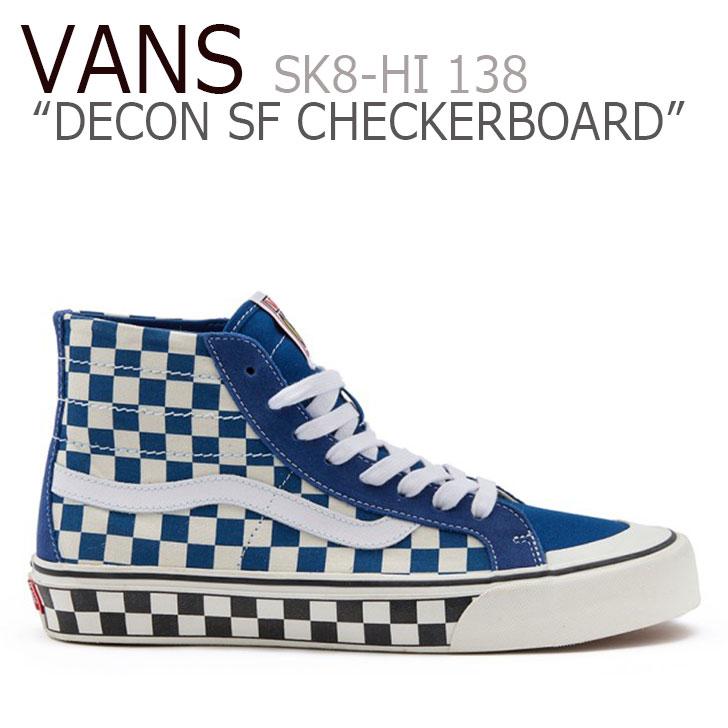 DECON チェッカーボード CHECKERBOARD ブルー BLUE シューズ VANS メンズ SK8-HI バンズ TRUE スニーカー SF スケートハイ SF スケートハイ デコン VN0A3MV1VS91