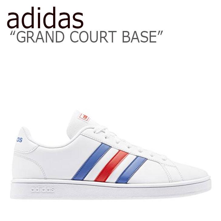 アディダス スニーカー adidas メンズ GRAND COURT BASE グランドコートベース WHITE BULE RED ホワイト ブルー レッド EE7901 シューズ 【中古】未使用品