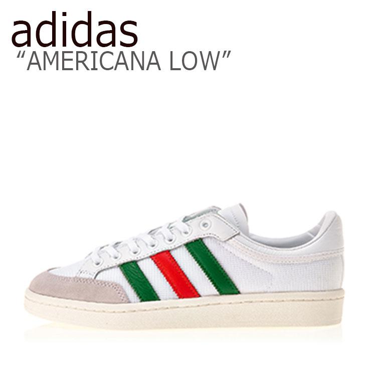 アディダス スニーカー adidas メンズ レディース AMERICANA LOW アメリカーナ ロウ WHITE GREEN RED ホワイト グリーン レッド EF2509 シューズ 【中古】未使用品