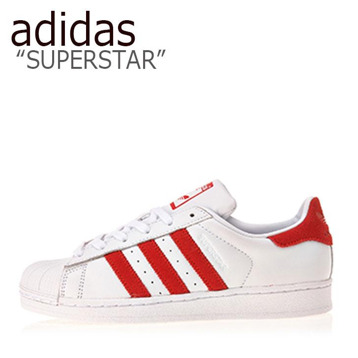 アディダス スーパースター スニーカー adidas メンズ レディース SUPERSTAR スーパースター WHITE RED ホワイト レッド EF9237 シューズ 【中古】未使用品