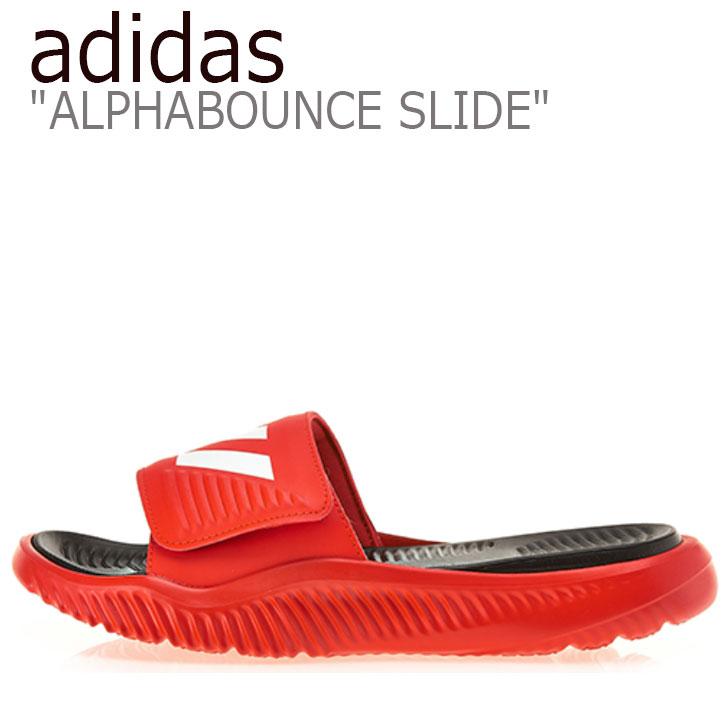 ALPHABOUNCE アルファバウンス F34773 【中古】未使用品 adidas スライド アディダス サンダル SLIDE シューズ レディース RED メンズ レッド