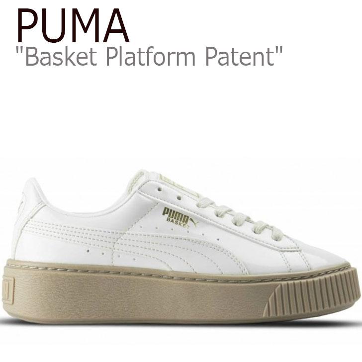 プーマ スニーカー PUMA レディース Basket Platform Patent バスケット プラットフォーム パテント Marshmallow マシュマロ 厚底 363314-05【箱無し別箱配送】シューズ 【中古】未使用品