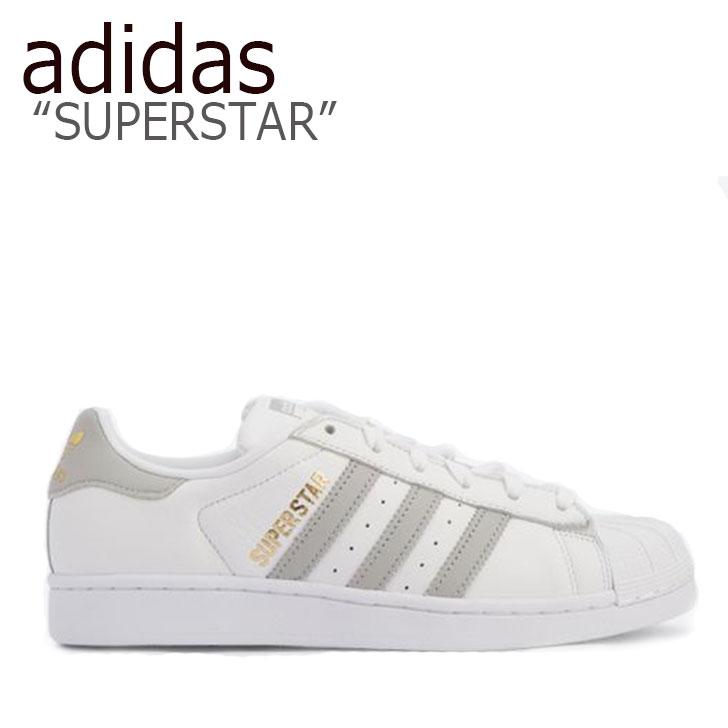 アディダス スーパースター スニーカー adidas メンズ レディース SUPERSTAR スーパースター WHITE GREY ホワイト グレー B42002 シューズ 【中古】未使用品
