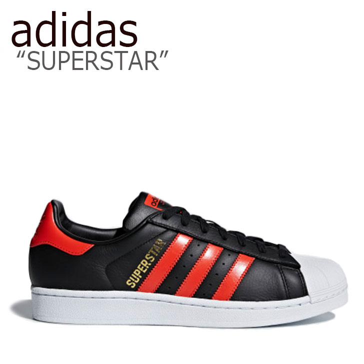 アディダス スーパースター スニーカー adidas メンズ レディース SUPERSTAR スーパースター BLACK RED ブラック レッド B41994 シューズ 【中古】未使用品