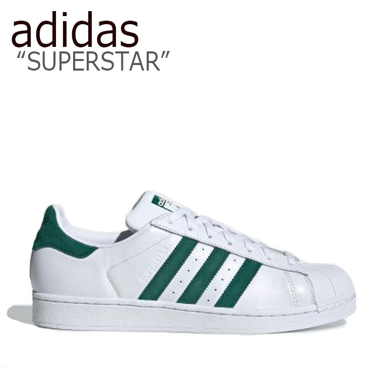 アディダス スーパースター スニーカー adidas メンズ レディース SUPERSTAR スーパースター WHITE GREEN ホワイト グリーン EE4473 シューズ 【中古】未使用品