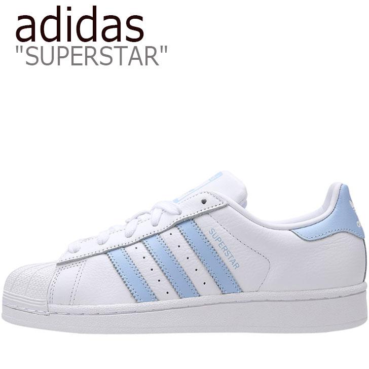 アディダス スーパースター スニーカー adidas メンズ レディース SUPERSTAR スーパースター WHITE ホワイト BLUE ブルー EF9247 シューズ 【中古】未使用品