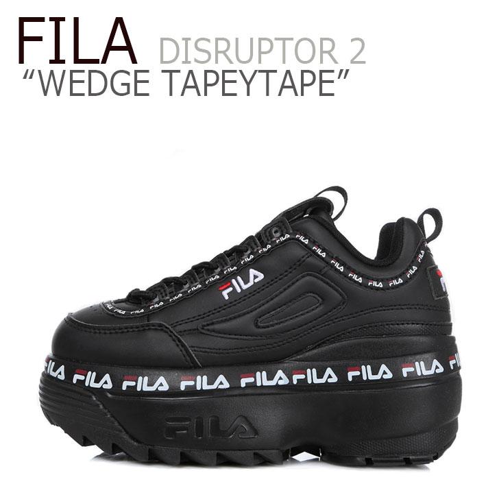 フィラ ディスラプター スニーカー FILA レディース DISRUPTOR 2 WEDGE TAPEYTAPE ディスラプター2 ウェッジ テーピーテープ BLACK ブラック FS1HTB3092X シューズ
