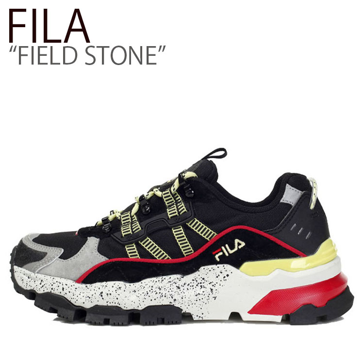 フィラ スニーカー FILA メンズ レディース FIELD STONE フィールドストーン BLACK YELLOW ブラックイエロー FS1RIB3113X FLFLAS1U34 シューズ