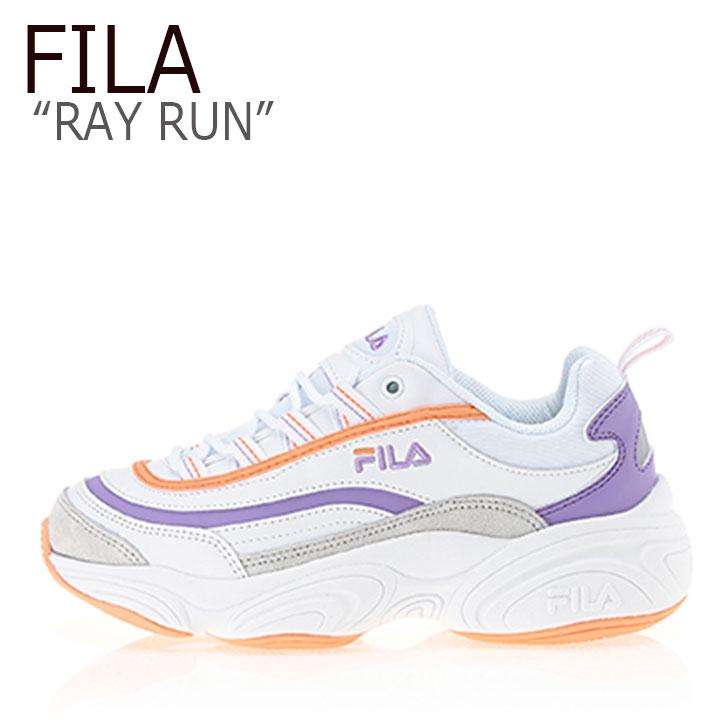 フィラ レイ スニーカー FILA レディース RAY RUN レイ ラン WHITE PURPLE ORANGE ホワイト パープル オレンジ FS1SIB1023X シューズ