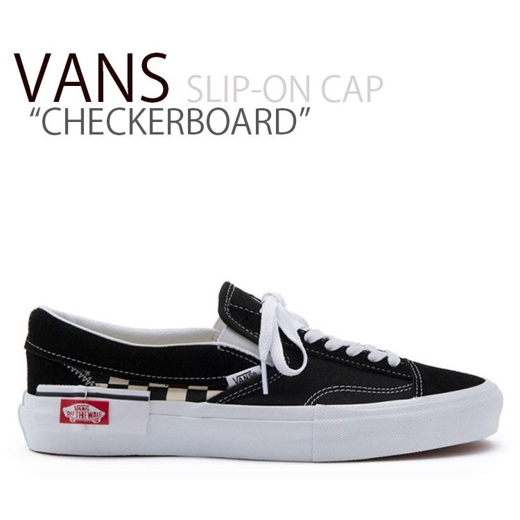 バンズ スリッポン VANS メンズ レディース SLIP-ON CAP CHECKERBOARD スリッポンキャップ チェッカーボード 黒 ブラック VN0A3WM5HRK シューズ