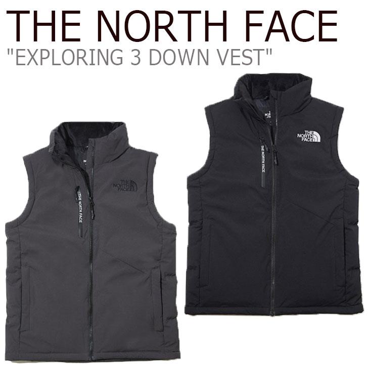 ノースフェイス ダウン THE NORTH FACE メンズ レディース EXPLORING 3 DOWN VEST エクスプローリング3 ダウンベスト BLACK ブラック CHARCOAL チャコール NV1DK53A/B ウェア 【中古】未使用品
