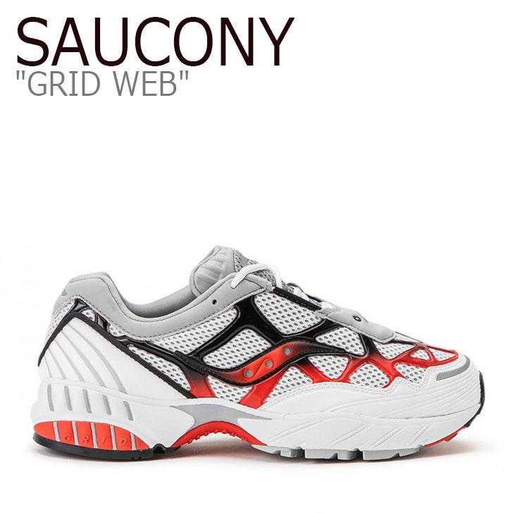 サッカニー スニーカー SAUCONY メンズ レディース GRID WEB グリッド ウェブ WHITE GREY RED ホワイト グレー レッド S70466-2 シューズ
