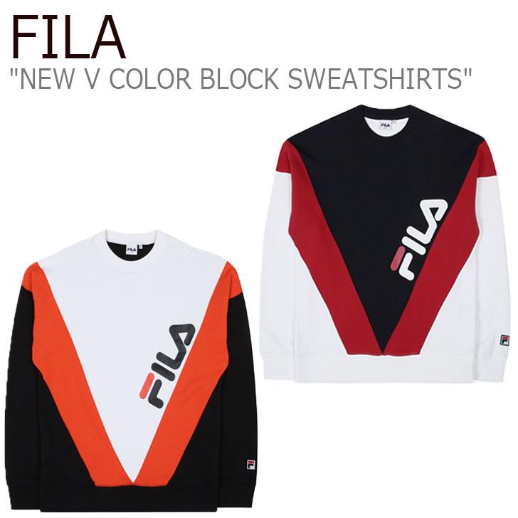 フィラ トレーナー FILA メンズ レディース NEW V COLOR BLOCK SWEATSHIRTS ニュー V カラー ブロック スウェットシャツ ORANGE オレンジ RED レッド FS2POC1106X ウェア