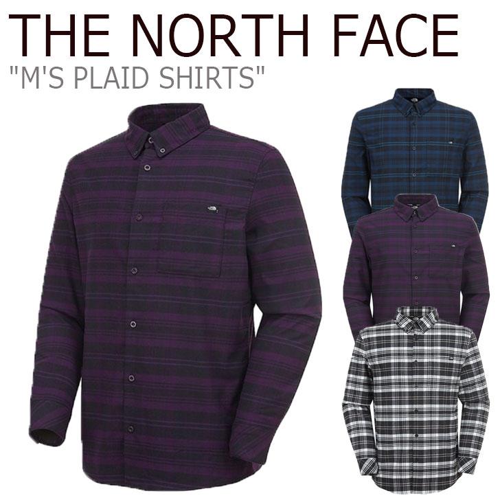 ノースフェイス シャツ THE NORTH FACE メンズ M'S PLAID SHIRTS プラッドシャツ PURPLE パープル BLACK ブラック NAVY ネイビー NH8LK50A/B/C ウェア 【中古】未使用品