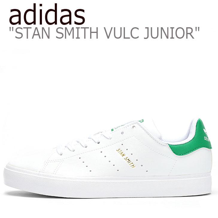 アディダス スタンスミス スニーカー adidas レディース STAN SMITH VULC JUNIOR スタンスミス バルカ ジュニア 白い ホワイト 緑 グリーン EG7295 シューズ 【中古】未使用品