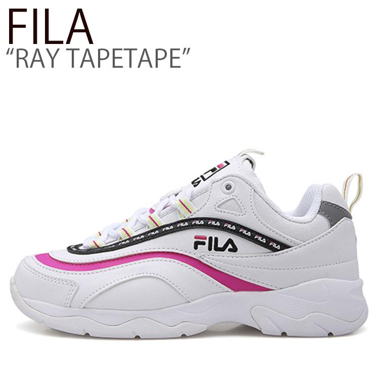 フィラ スニーカー FILA メンズ レディース RAY TAPEY TAPE レイ テーピー テープ WHITE PINK ホワイト ピンク SP1B7B1145X シューズ