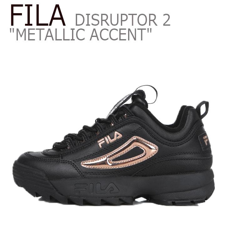 フィラ ディスラプター スニーカー FILA レディース DISRUPTOR 2 METALLIC ACCENT ディスラプター2 メタリック アクセント BLACK PINK ブラック ピンク FS1HTB3476F シューズ