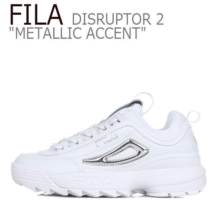 フィラ ディスラプター スニーカー FILA レディース DISRUPTOR 2 METALLIC ACCENT ディスラプター2 メタリック アクセント WHITE SILVER ホワイト シルバー FS1HTB3478F シューズ
