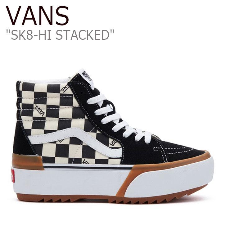 バンズ スケートハイ スニーカー VANS レディース SK8-HI STACKED CHECKERBOARD スケート ハイ スタック チェッカーボード BLACK ブラック VN0A4BTWVLV1 シューズ
