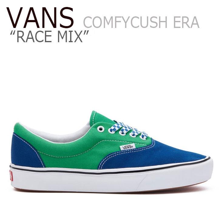 バンズ エラ スニーカー VANS メンズ レディース RACE MIX COMFYCUSH ERA レース ミックス コンフィークッシュ エラ BLUE ブルー GREEN グリーン VN0A3WM9WI11 シューズ