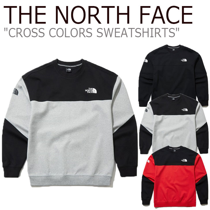 ノースフェイス トレーナー THE NORTH FACE メンズ レディース CROSS COLORS SWEATSHIRTS クロス カラー スウェットシャツ RED レッド BLACK ブラック GREY グレー NM5ML71A/B/C ウェア 【中古】未使用品