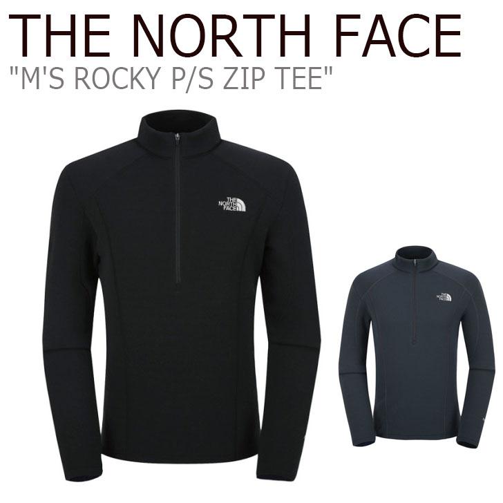 ノースフェイス THE NORTH FACE メンズ M'S ROCKY P/S ZIP TEE メンズ ロッキー ジップティー 長袖 BLACK CHARCOAL ブラック チャコール NT7LJ50A/B ウェア 【中古】未使用品