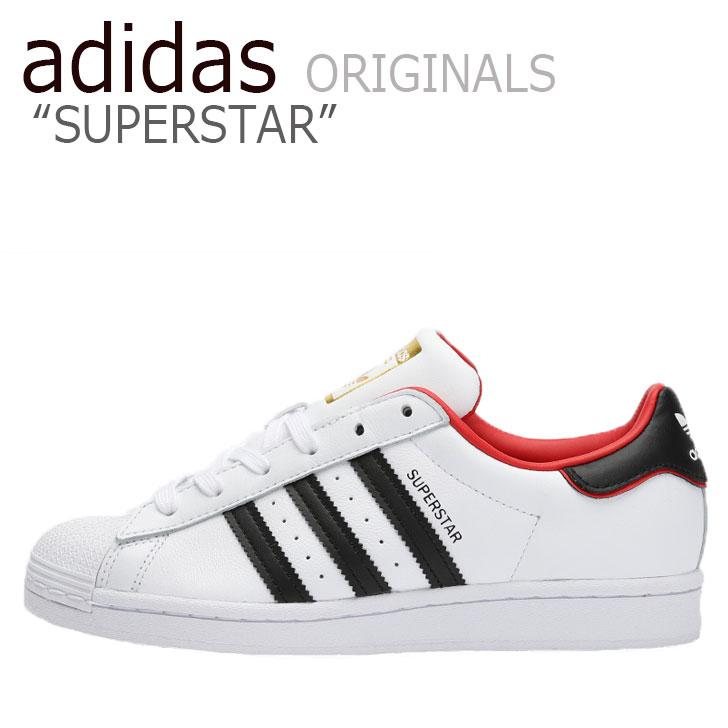 アディダス スーパースター スニーカー adidas メンズ レディース SUPERSTAR スーパースター WHITE ホワイト BLACK ブラック RED レッド FW6384 シューズ 【中古】未使用品