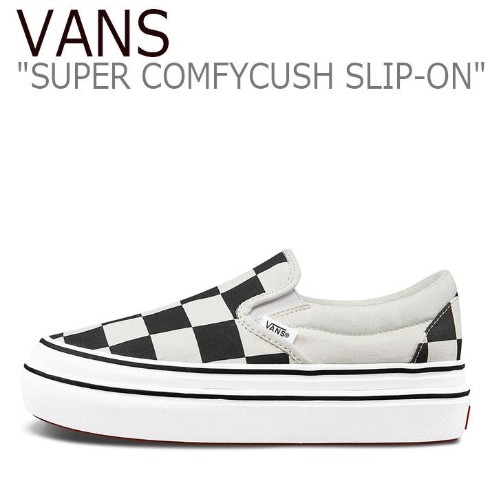 バンズ スリッポン スニーカー VANS レディース SUPER COMFYCUSH SLIP-ON CHECKERBOARD スーパー コンフィークッシュ スリッポン チェッカーボード BLACK ブラック WHITE ホワイト VN0A4U1FXT4 シューズ