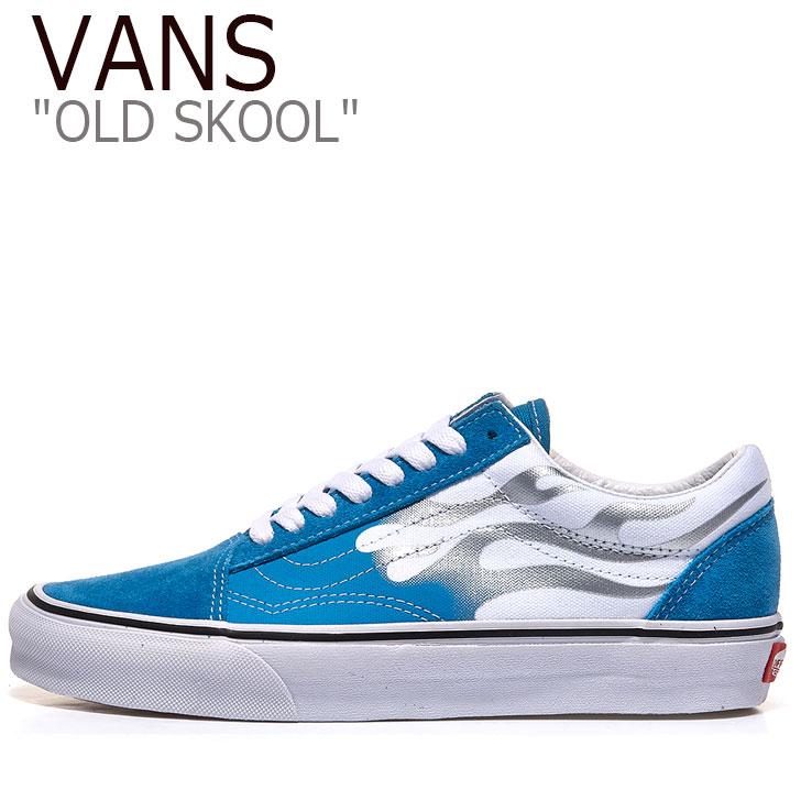 バンズ オールドスクール スニーカー VANS メンズ OLD SKOOL FLAME オールド スクール フレイム MEDITERRANIAN BLUE メディタレイニアンブルー WHITE ホワイト VN0A4U3BXF0 シューズ