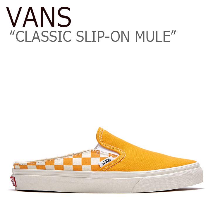 バンズ スリッポンミュール スニーカー VANS メンズ レディース CLASSIC SLIP-ON MULE CHECK クラシック スリッポン ミュール チェック ORANGE オレンジ FLVNAS1U14 シューズ