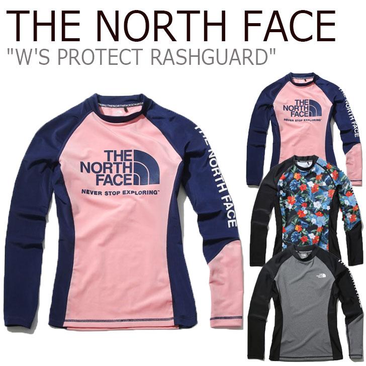 ノースフェイス 水着 THE NORTH FACE レディース W'S PROTECT RASHGUARD プロテクト ラッシュガード SCALET スカーレット GRAY グレー PINK ピンク NT7XK30A/B/C ウェア 【中古】未使用品