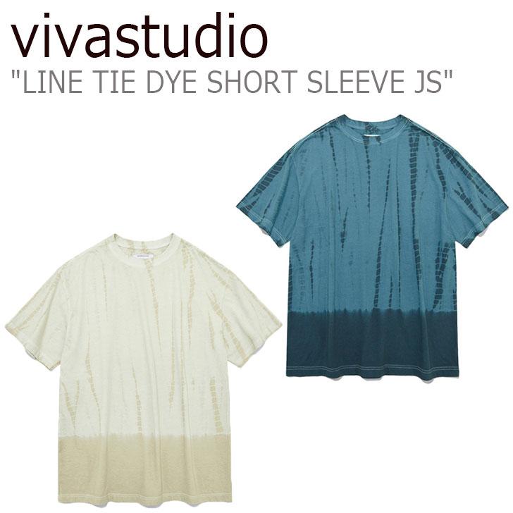 ビバスタジオ Tシャツ vivastudio メンズ レディース LINE TIE DYE SHORT SLEEVE JS ライン タイダイ ショート スリーブ BEIGE ベージュ BLUE ブルー JSVT43 ウェア