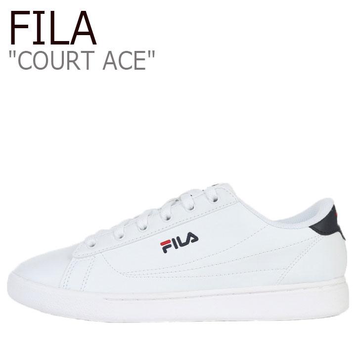 フィラ スニーカー FILA メンズ レディース COURT ACE コート エース WHITE ホワイト NAVY ネイビー 1TM00645-147 シューズ