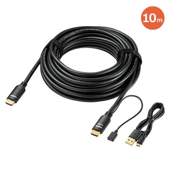 送料無料(沖縄・離島除く) 宅配便出荷 HDMI端子を持つブレーレイ・DVD・HDDレコーダー PlayStation4 パソコンなどとテレビ・プロジェクターなどを接続するケーブル HDMIアクティブケーブル 4K/60Hz対応 10m ブラック サンワサプライ KM-HD20-APR100L