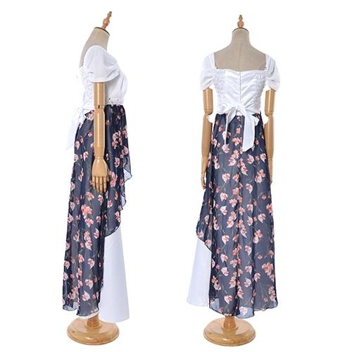 送料無料ロングドレスパーティードレスステージ衣装ダンスコスチューム社交ダンスダンス衣装カラオケカラオケ衣装フラワーシフォン切り替えAラインロングドレス