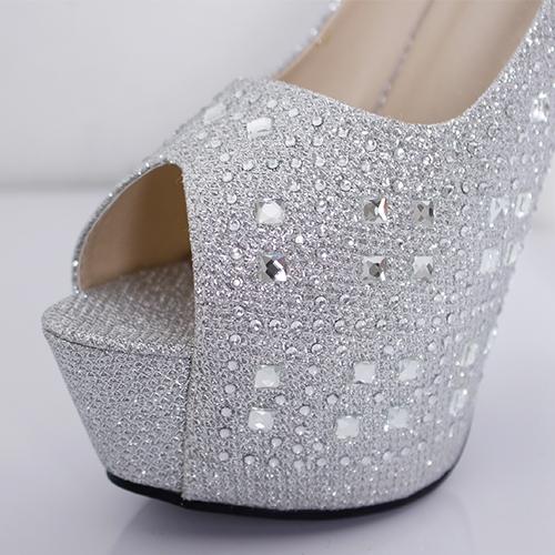 キャバ ヒール サンダル キャバドレス 靴  結婚式  パーティー ラメ×ラインストーンハイヒールサンダル ハイヒール 14cmヒール キャバ サンダル