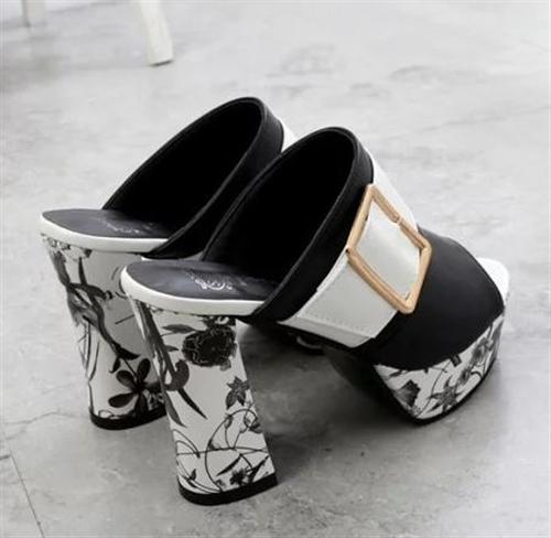 サンダル キャバドレス パーティードレス デイリーにも 靴 バイカラーデザイン太ヒール厚底サンダル 11センチヒール