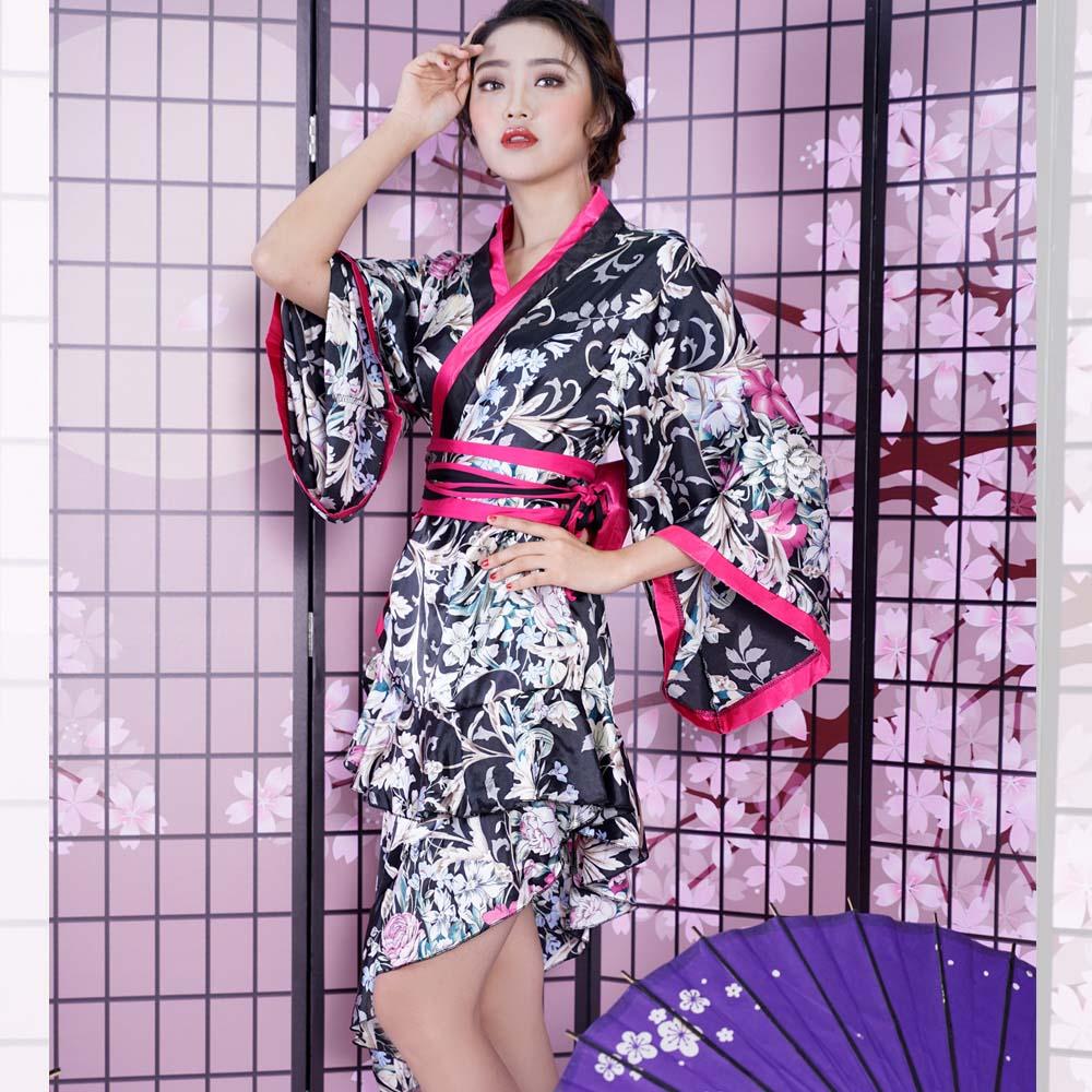着物ドレス花魁コスプレ浴衣祭りダンス衣装よさこい衣装送料無料膝丈斜めカットサテン和柄着物ドレス