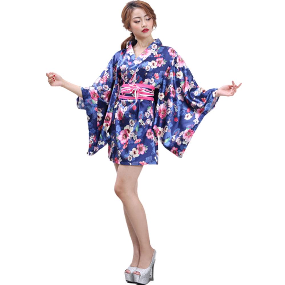 着物コスプレ花魁コスプレ着物ドレス花魁コスプレ浴衣祭りダンス衣装よさこい衣装送料無料サテン花柄花魁ミニ着物ドレス