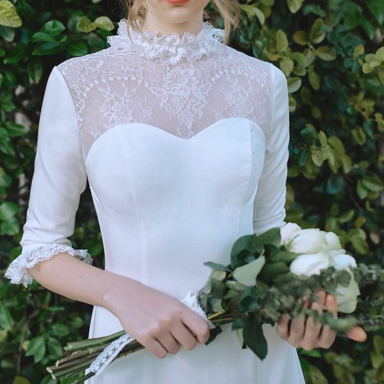 ウエディングドレス 二次会 ロングスリーブ フリル 前撮り 結婚式 披露宴 二次会 フォトウエディング ハネムーンフォト レース フォーマル おしゃれ
