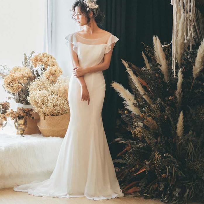 ウエディングドレス 二次会 マーメイド シフォン フリル 前撮り 二次会 フォトウエディング 結婚式 披露宴 パーティ インスタ映え