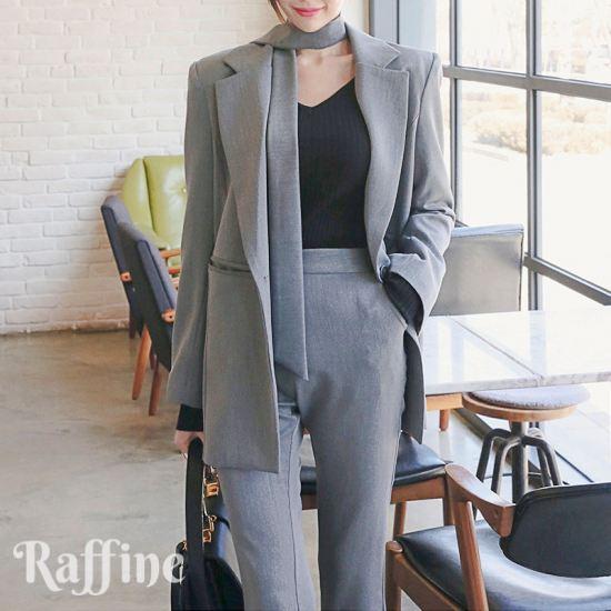 パンツ グレー パンツスーツ スーツ 韓国 ネクタイ セットアップ 裾スリット入り 黒 セットアップ 通勤 S-XL レディース T0048015 おしゃれ
