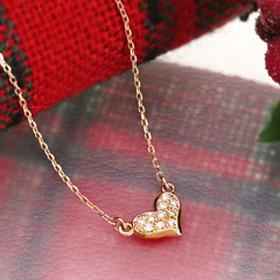 K10 ハート ネックレス ダイヤモンド パヴェ ダイヤモンド レディース ネックレス 10K heart pave diamond necklace 10金 ゴールド ぷっくり 厚み プレゼント【送料無料】 母の日 ギフト